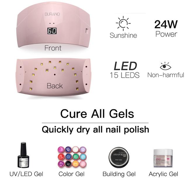 Burano manicure set of tools nail set kit UV LED Lamp & 36 Color UV Gel Nail polish Art Tools nail Set Kit building gel set009