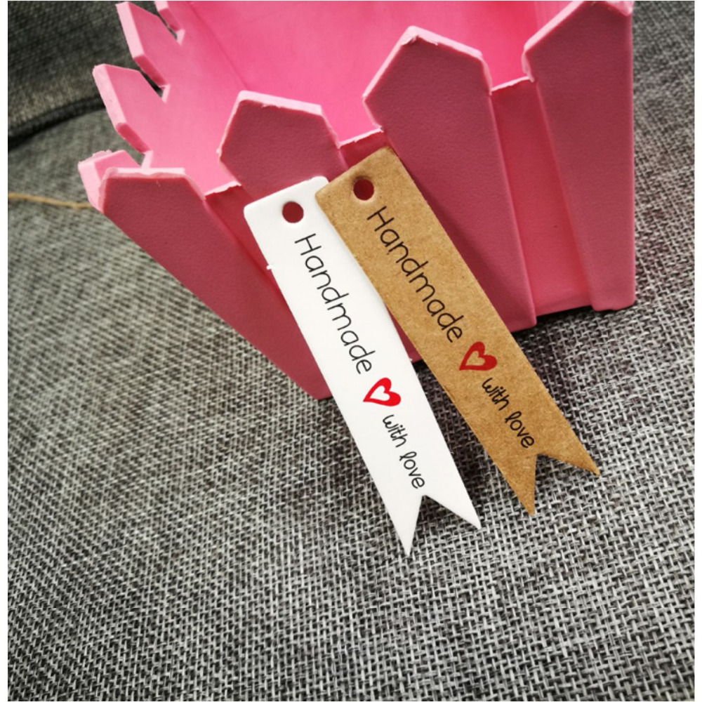 7x1.5cm 100pcs Kraft Print Paper Hand Made Tag With Love For DIY Gift Box Tag Candy Cupcake Handmade Favors Name Brand Hang Tag