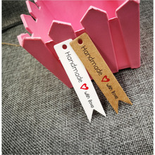 7x1.5cm 100pcs kraft print paper hand made tag with love for DIY Gift box candy cupcake handmade favors name brand hang
