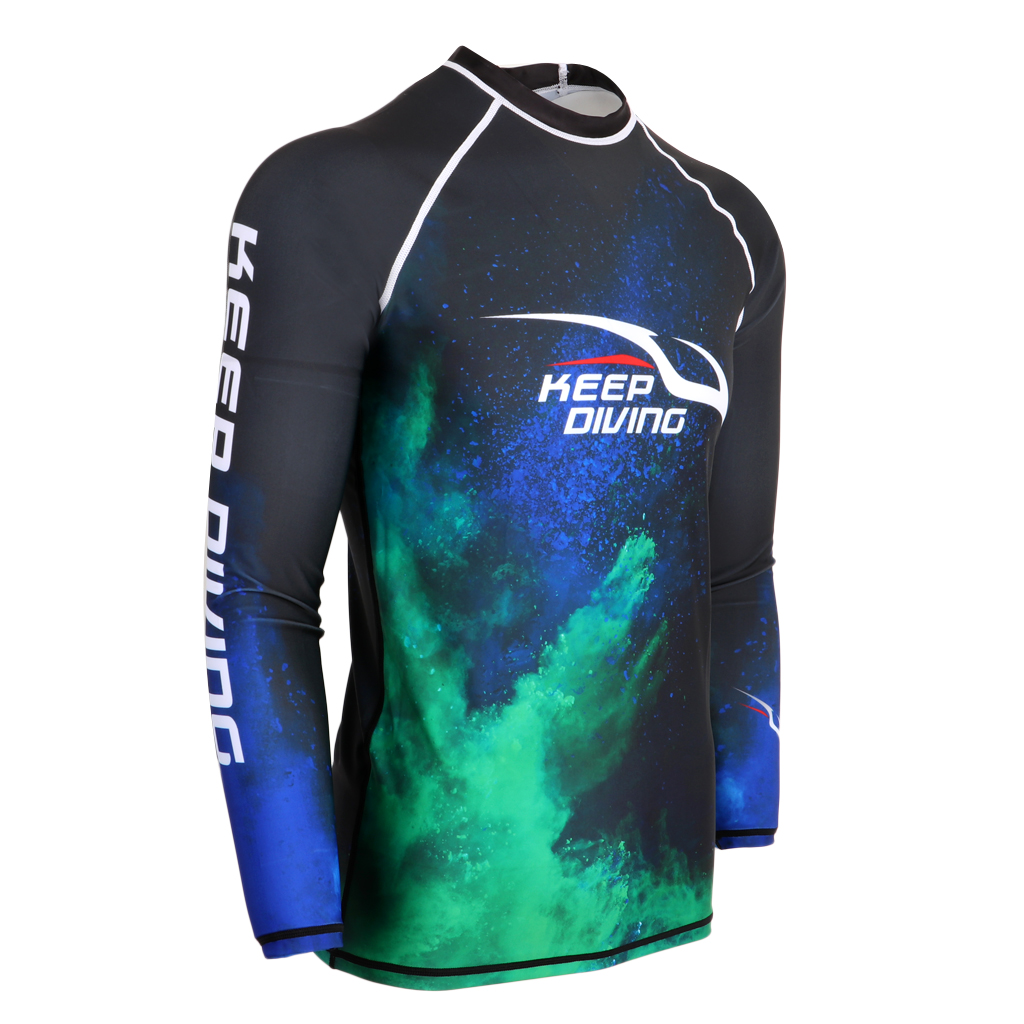 UPF 50+ Scuba Men Diving Wetsuit Long Sleeve Top Shirt Rash Guard for Surfing Snorkeling Swimming Various Sizes