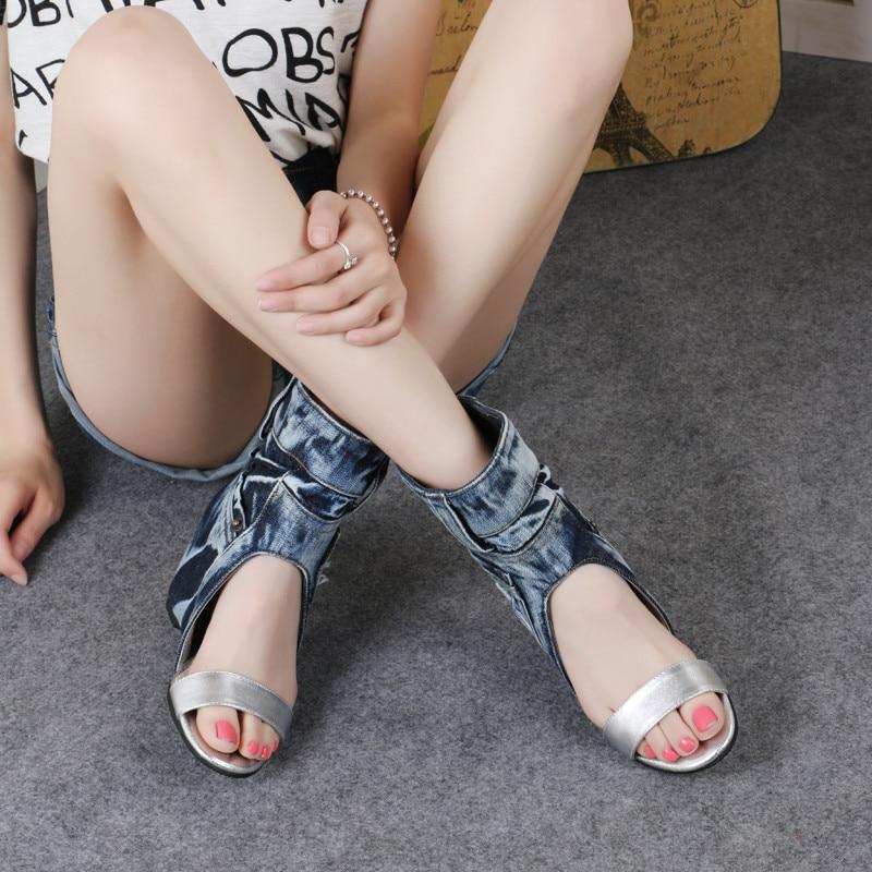 Denim Sandales Chaussures Femme Prova Croissante Hauteur Femmes Coins Bleu Slip Gladiateur Sur Perfetto D'été Botas Wedge Cheville Bottes Sandale WfWXnSIq