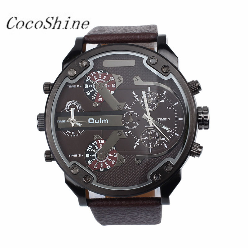 CocoShine A 728 font b Luxury b font Military Army Dual Time Quartz Large Dial Wrist