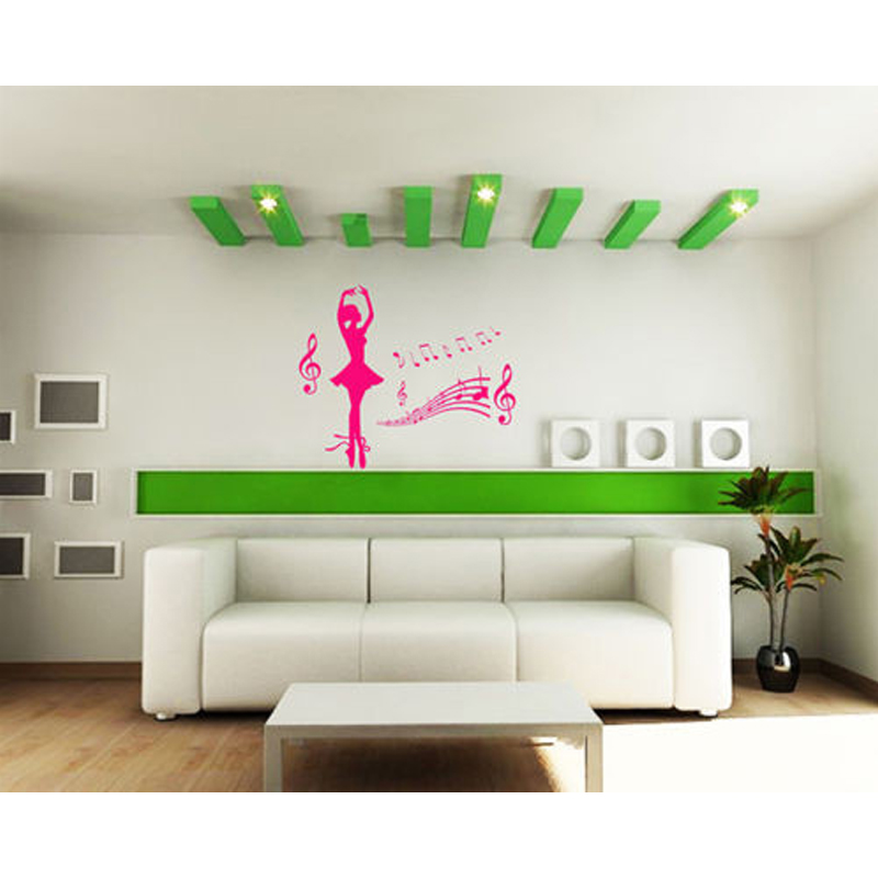 Beautiful Ballerina Dancing Ballet Dancer Girl And Music Notation Vinyl Wall Sticker Baby Girls Bedroom Decor
