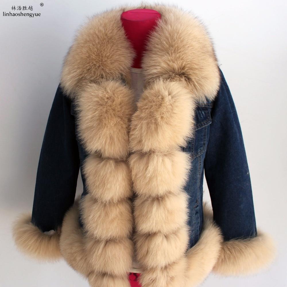 Linhaoshengyue NEW HOT  Real rabbit fur lining coat for women fox fur collar winter warm coat