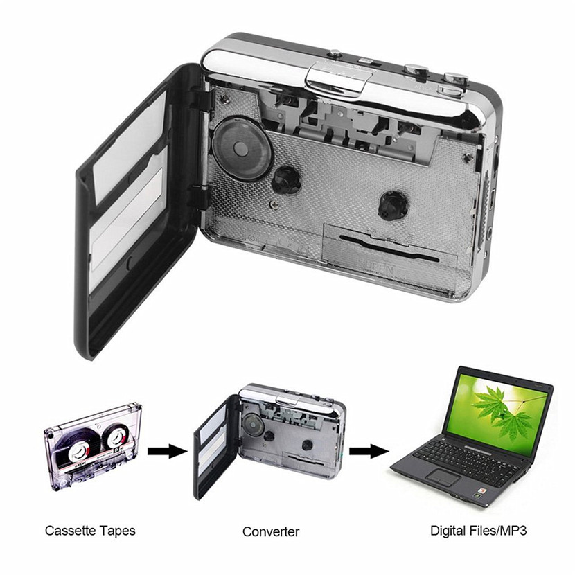цена на Tape to PC Super Cassette To MP3 Audio Music CD Digital Player Converter Capture Recorder +Headphone USB 2.0 Drop Shipping