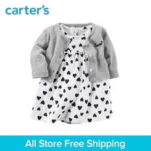 2pcs clothing sets sweet heart bodysuit dress with a cardigan Carter s baby girl cotton Spring