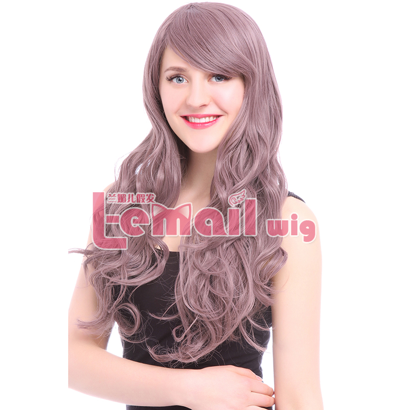 2016 New 60cm Soft Women Wig With Bangs Sexy Cute Fashion Long Taro Curly Wave Lady's Cosplay Synthetic Hair wig