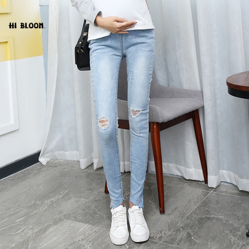 Hot Sale Maternity Clothes Spring Autumn Maternity Pants Blue Clothes for Pregnant Women Comfy Quality Pregnancy Casual Pants woman fashion slim solid knee distrressed maternity wear jeans premama pregnancy prop belly adjustable pants for women c73