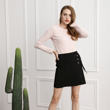 Marwin 2018 New-coming Autumn Winter sweater skirt Casual Solid Lace-up Mini Skirt Fashion Soft Women Skirt diy lace up grommet sequined mini skirt