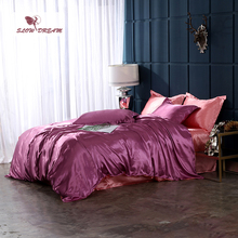 SlowDream Luxury Bed Linens Euro Bedspread Double Queen Size Family Bedclothes Decor Home Bedding Set Pure Satin Silk Adult Bed [available with 10 11] linens euro 2565821