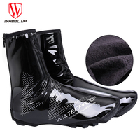WHEEL UP Warm Cycling Shoes Cover Mtb Rain Shoe Covers Copriscarpe Bici Waterproof Overshoe Black Night Reflection Overschoenen