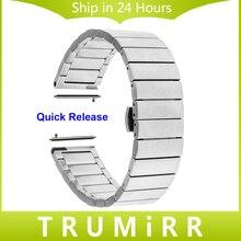 20mm de acero inoxidable correa de reloj de correa de liberación rápida para ticwatch 2 42mm smart watch band butterfly hebilla de cinturón de pulsera de la muñeca