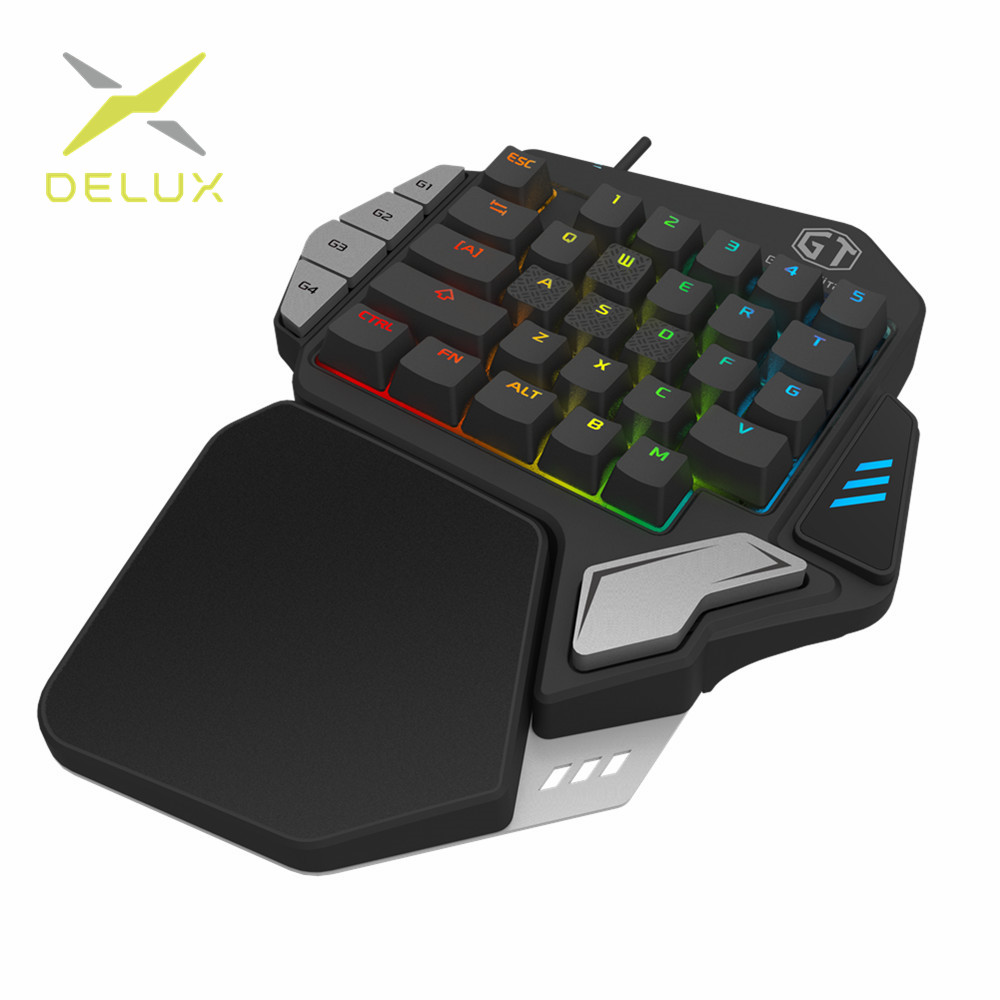 Delux T9X Single-handed Mechanical Gaming Keypad fully progrs