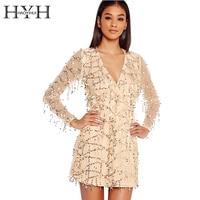 HYH HAOYIHUI Women Dress Sexy Sequin Gold Deep V Neck Long Sleeve Female Mini Dress High