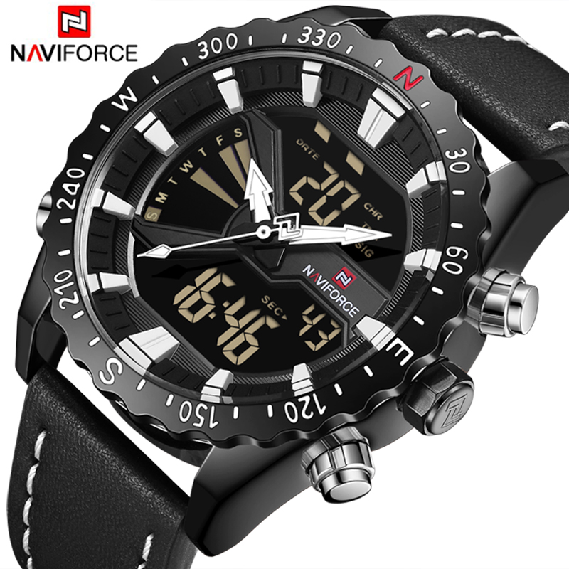 NAVIFORCE Luxury Men's Watches Fashion Casual Sport Military Waterproof Quartz Digital Watch Leather Strap Men Wrist Watch Clock men sport watch naviforce luxury brand men military quartz watches fashion casual leather strap auto date 30m waterproof watches