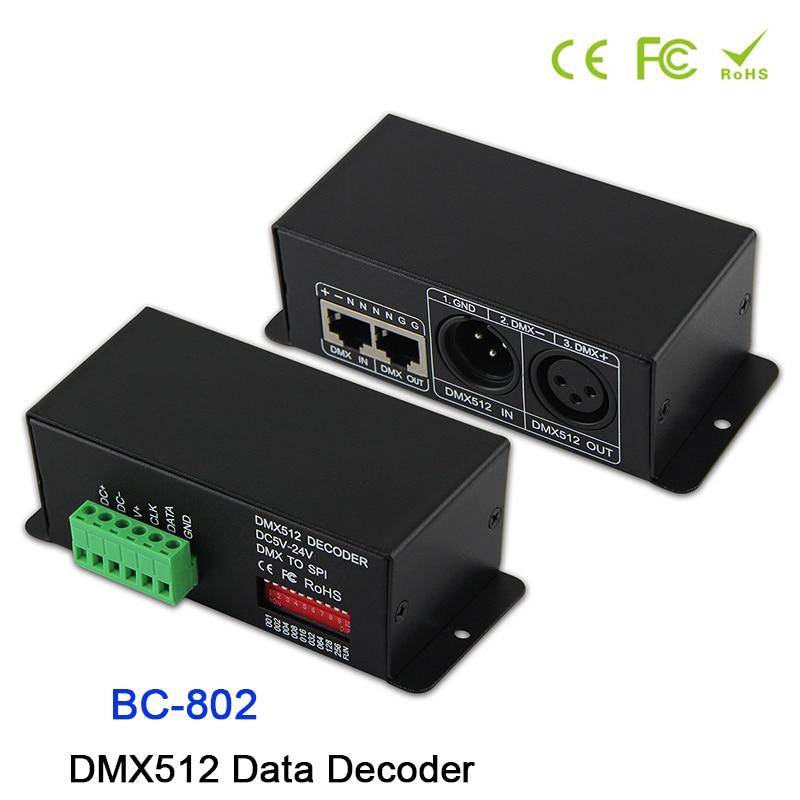 BC-802 DC5V-DC24V led DMX512 à SPI (TTL) décodeur de convertisseur; signal de sortie 6803/1809/8806/9813/3001/2801 DMX512 décodeur de données