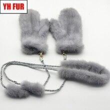 2020 luxus Winter Real Nerz Pelz Handschuhe Frauen Gestrickte Natürliche Echt Nerz Pelz Handschuhe Mädchen Gute Elastische Russland Nerz fäustlinge
