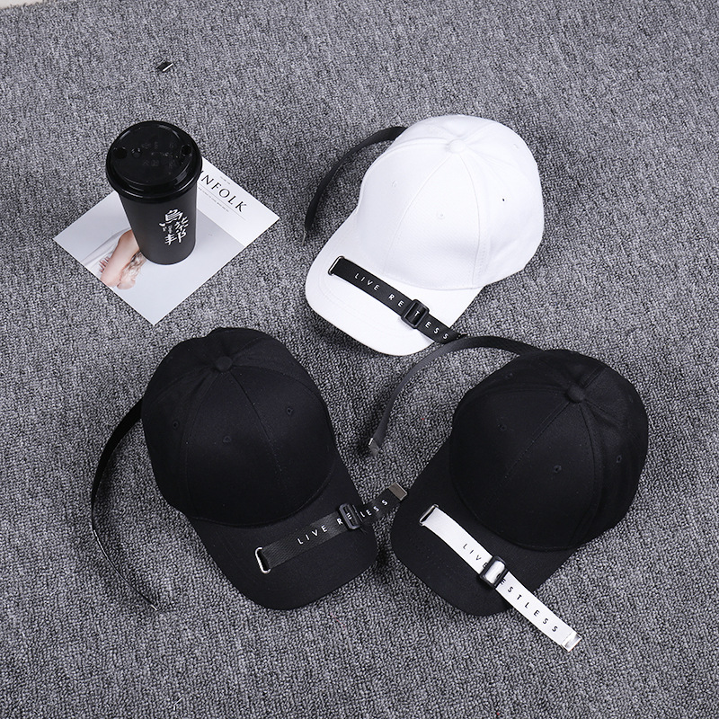 Spring Summer Fashion Long Tape Curved Eaves hat with rings Male Ma'am Korean   Baseball     Cap   Tide snapback bone hip hop tqmsmy   cap