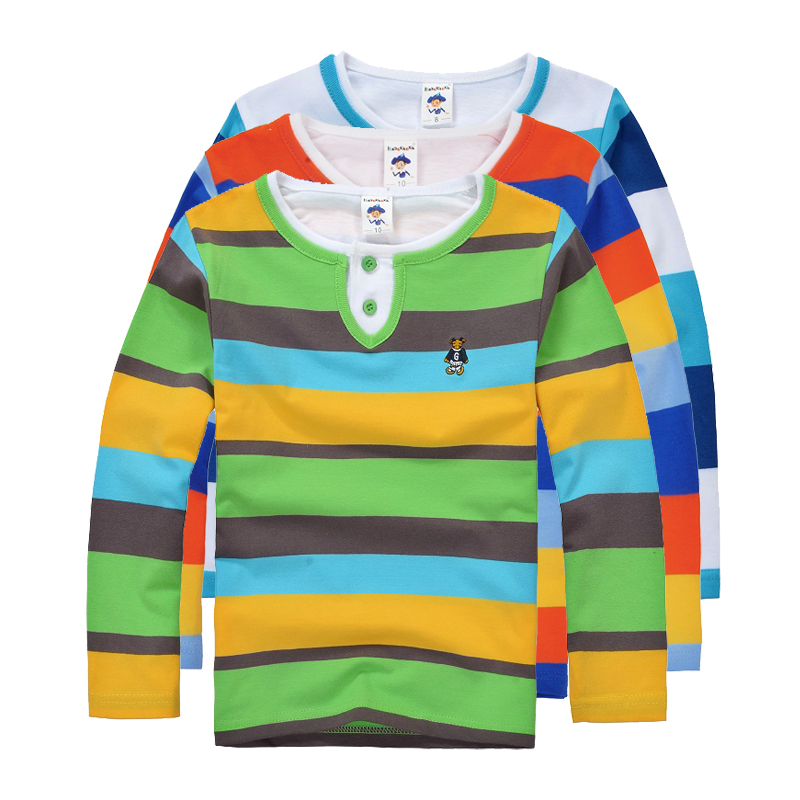 Top quality boys girls clothes for kids toddler big boy clothing children long sleeve cotton spring autumn striped polo shirt