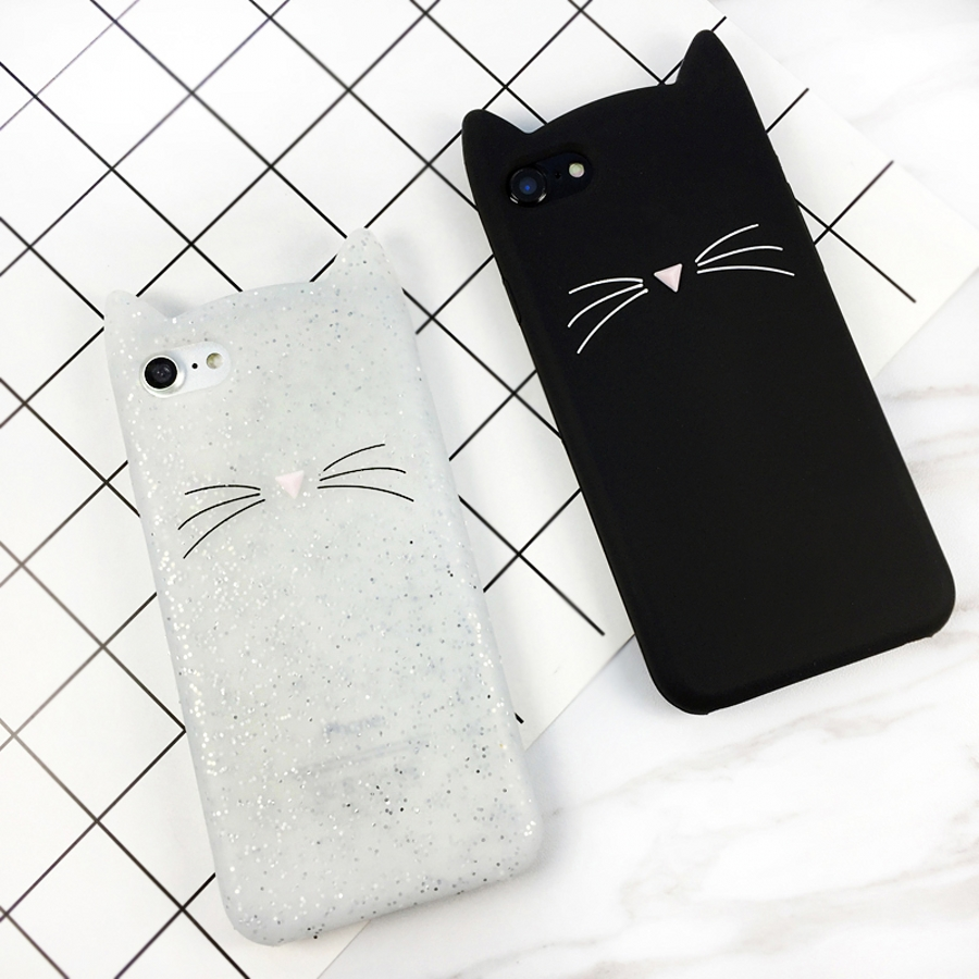 Cute 3D Cartoon Beard Cat Kitty <font><b>Glitter</b></font> Phone <font><b>Case</b></font> for <font><b>OnePlus</b></font> 5t 1+5 <font><b>3</b></font> 3t 1+3t Soft Silicone Cover Fundas Coque for <font><b>OnePlus</b></font> 6 image
