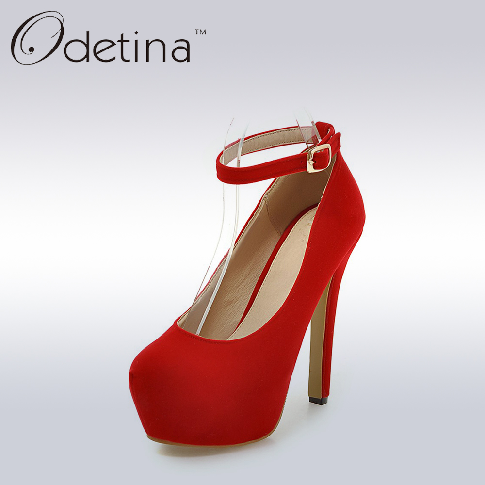 Odetina Sexy Red Suede Women Party Dress Shoes Elegant Ladies Extreme High Heels Ankle Straps Pumps