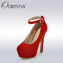 Odetina Sexy Red Suede Partido Vestido de Las Mujeres Elegantes Zapatos de Las Señoras Tacones Altos Extremos Correas Del Tobillo Bombas de la Plataforma Mujeres Tacones Altos