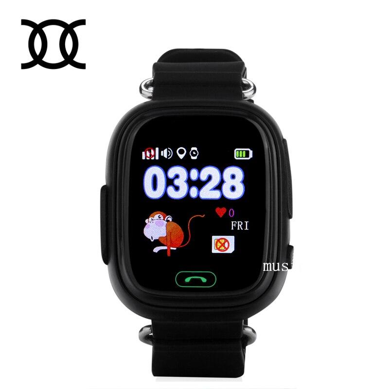 imágenes para 2017 Original Q90 Moda Niños Reloj GPS de Posicionamiento Del Teléfono 1.22 Pulgadas color de la pantalla táctil wifi sos smart watch pk q80 q50 q60