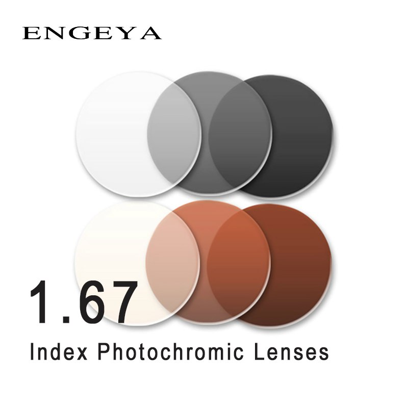 ENGEYA 1 67 Index Photochromic Lenses Transition Grey Brown Lenses for Myopia Hyperopia Optical Prescription Sunglasses