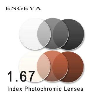 ENGEYA 1.67 מדד Photochromic עדשות מעבר אפור חום עדשות לקוצר ראייה רוחק מרשם אופטי משקפי שמש עדשה