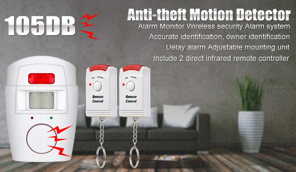Etiger Wireless PIR/Motion Sensor Alarm + 2 Remote Controls Local Alarm Burglar 105db Siren
