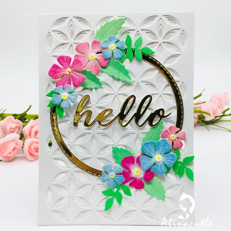 Die Cut Metal Cutting Dies 3pc Layered Background Flower Rectangle