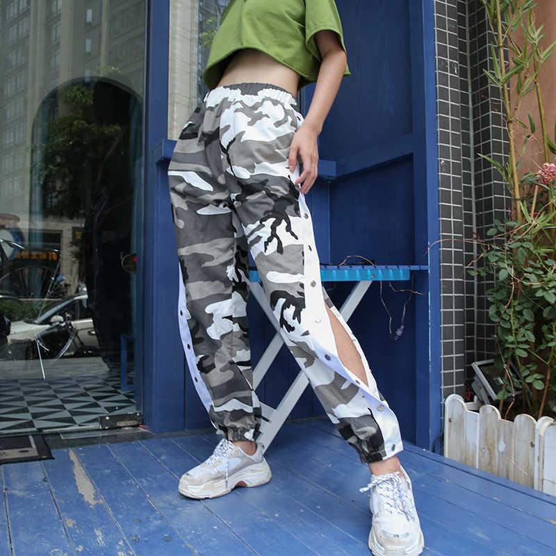Weekeep, женские камуфляжные штаны с боковой пуговицей, уличная одежда с высокой талией, женские свободные эластичные узкие брюки, модные брюки в стиле хип-хоп