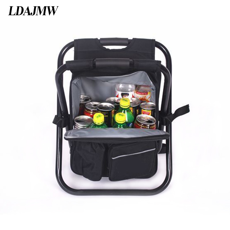 Ldajmw folding fishing chair backpack travel storage for Fish bag cooler