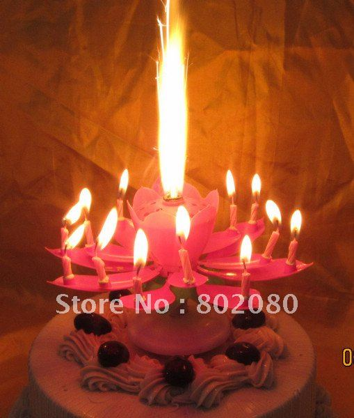 Aliexpresscom Buy Lotus shaped musical birthday candle100pcslot