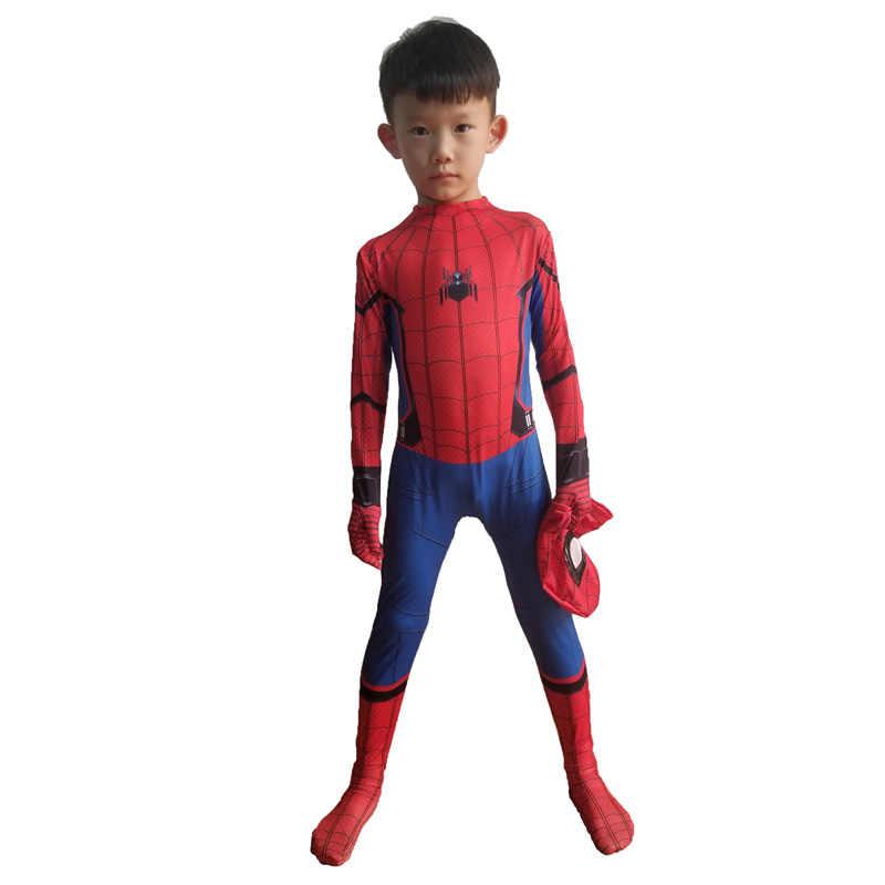 Bambini Ragazzo Adulto Spiderman Ritorno A Casa Costume Cosplay Bambino Suit Zentai Superhero ferro Spider Man Vestito Del Partito di Halloween Di Natale