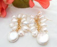 WOW Natural White Pearl Earring 925 Silver Hook Free Shippment