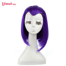 L email wig Raven Cosplay Wigs Anime Purple Short Straight Cosplay Wig Halloween Heat Resistant Synthetic Hair