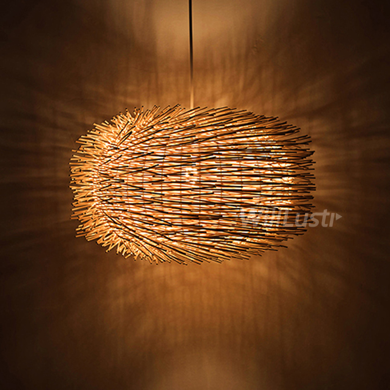 willlustr wicker <font><b>pendant</b></font> lamp bird nest shape hanging lighting bar hotel restaurant mall lounge handmade wood suspension <font><b>light</b></font> image