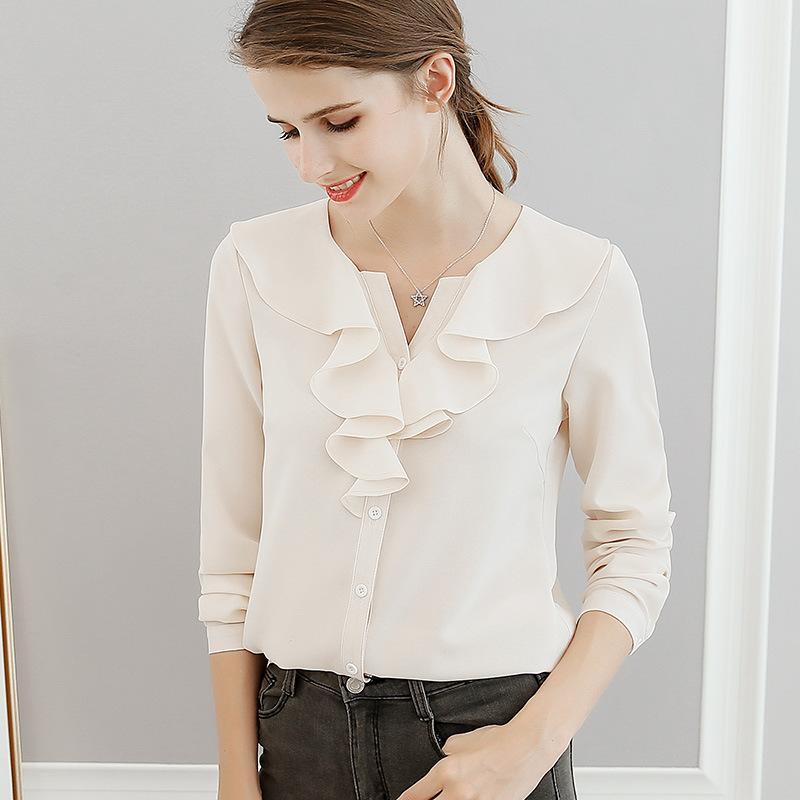 b01cd6696f5d 2018 Spring Summer Women Fashion Casual Shirt Tops Female V-Neck Chiffon  Blouses Office Shirts