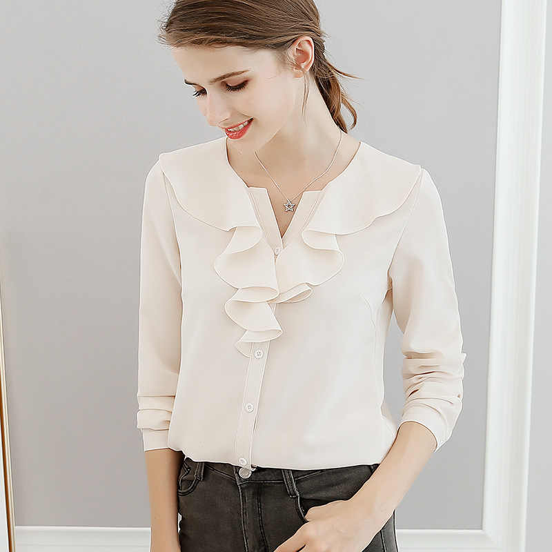 ecdff284728 2018 Spring Summer Women Fashion Casual Shirt Tops Female V-Neck Chiffon  Blouses Office Shirts
