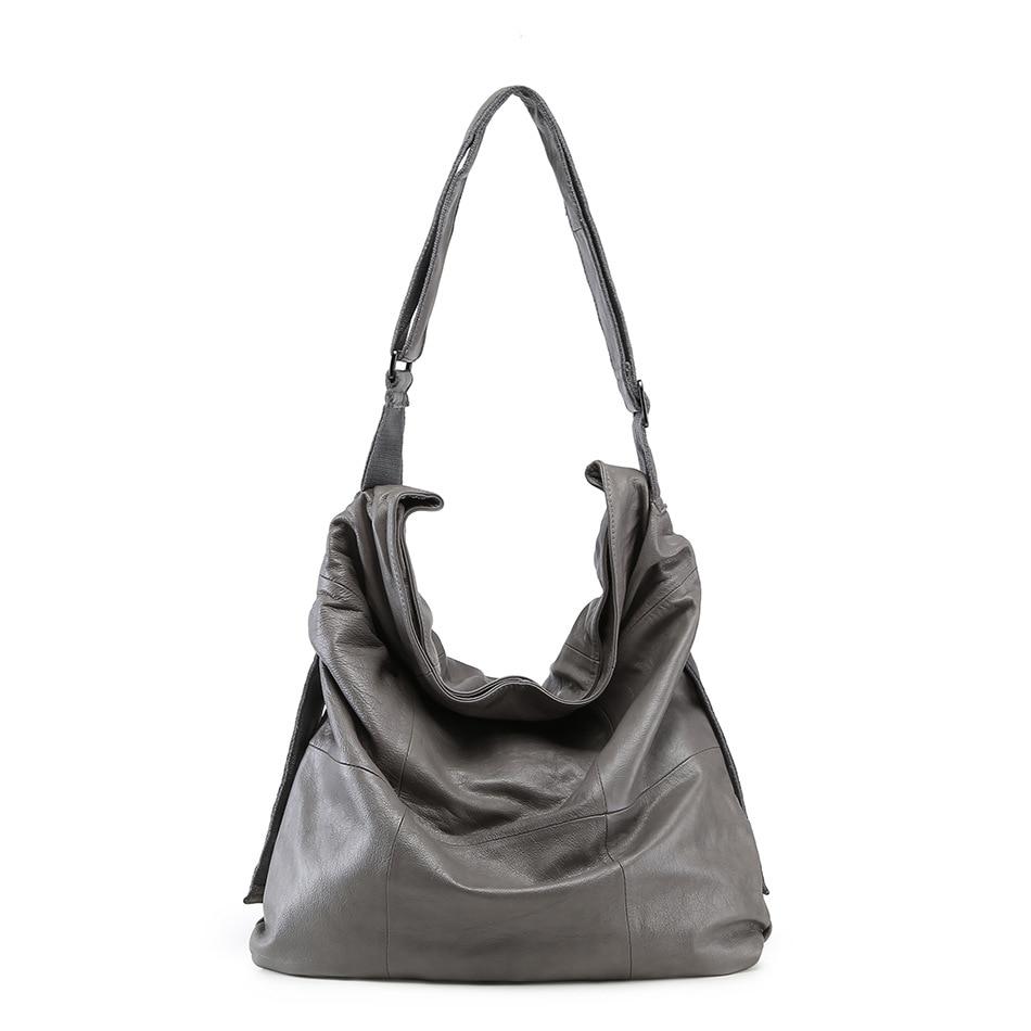 Bagaj ve Çantalar'ten Omuz Çantaları'de Lüks marka Hakiki deri Bayan çanta Messenger Omuz Büyük kapasiteli çanta yumuşak % 100% Gerçek hakiki deri çanta Kadın 2018'da  Grup 2