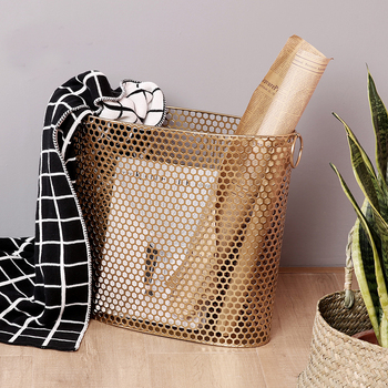 gold metal Nordic Modern Magazine Newpaper Storage Basket Barrel Vintage Industrial Style Metal Wire Holder table display black