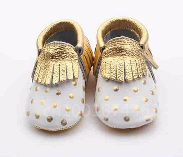 New white with gold dots genuine leather baby Moccasins Shoes Leather Tassels Newborn First Walkers Soft toddler Shoes Sneakers