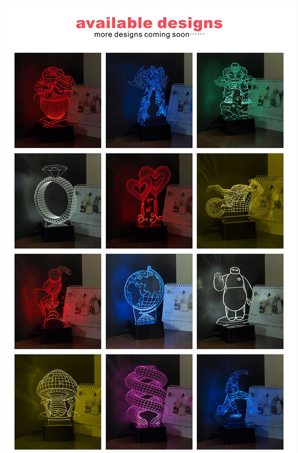 CNHIDEE New Novelty Star Wars BB-8 3D Night Lamp 7 Colors Changeable LED Besides Lampara Reading Lights as Home Decor Desk Lampe (6)