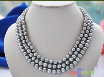 "CB71  Beautiful luster 3row 17"" 9mm gray round freshwater cultured pearl necklace"