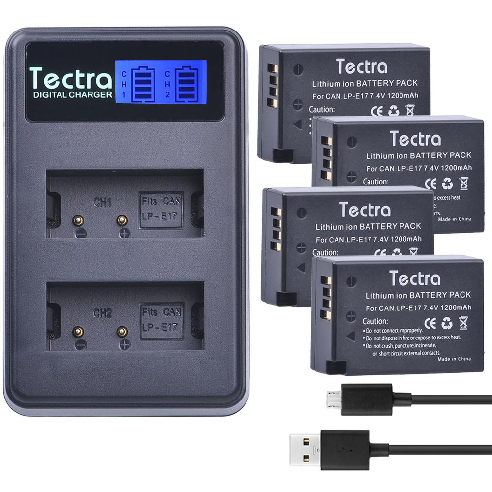 все цены на Tectra 4pcs LP-E17 Battery+ LCD USB Dual Charger for Canon EOS 200D 750D 760D 8000D 800D M3 M5 Rebel T6i T6s KISS X8i
