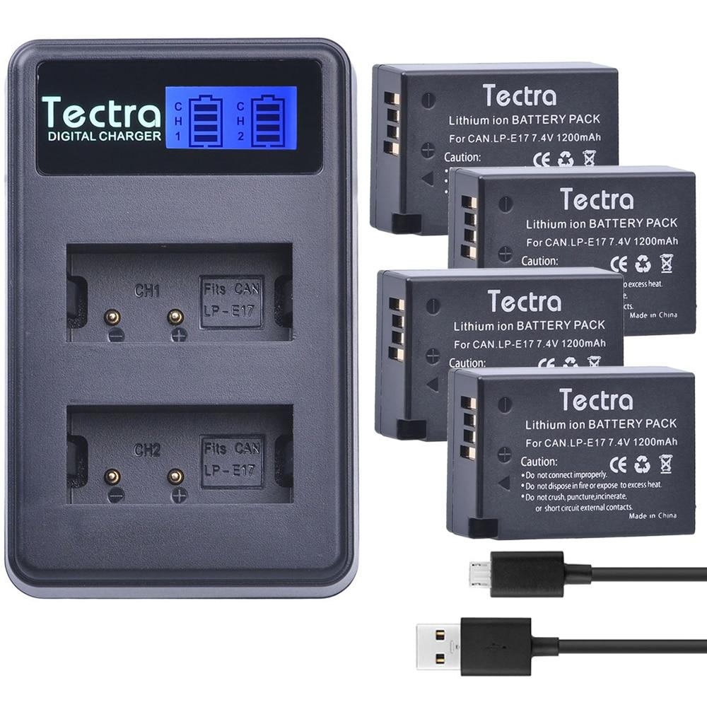 Tectra 4pcs LP E17 Battery+ LCD USB Dual Charger for Canon EOS 200D 750D 760D 8000D 800D M3 M5 Rebel T6i T6s KISS X8i
