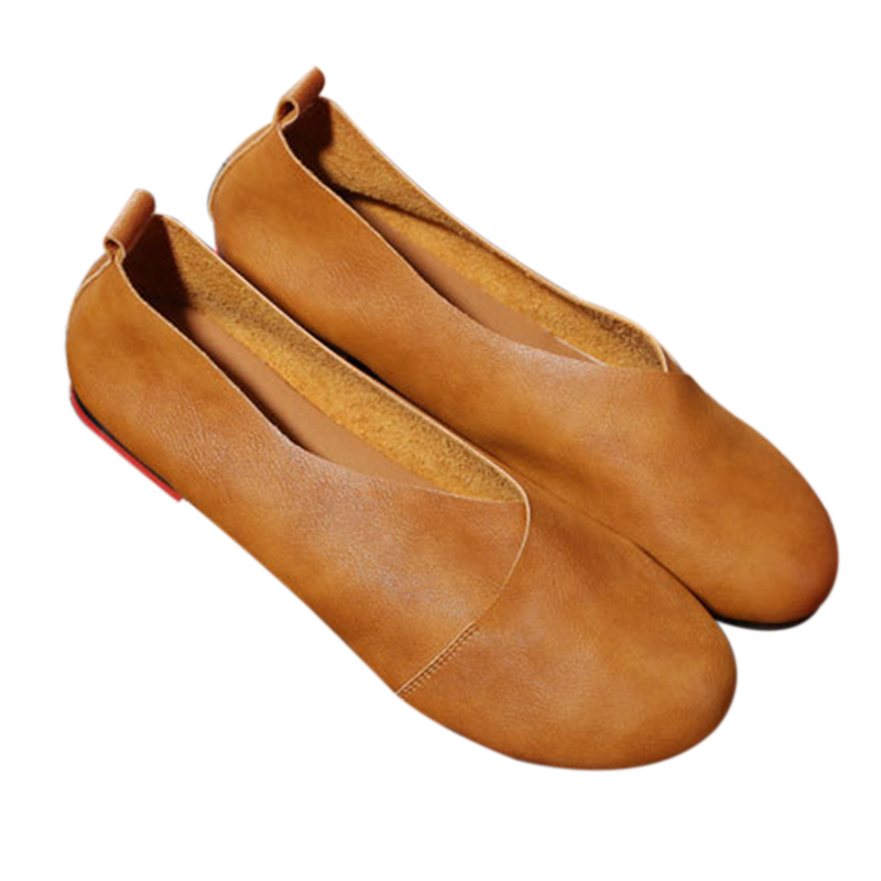 2019 Genuine Leather Flat Shoes Woman Hand-sewn Leather Loafers Cowhide Flexible Spring Casual Shoes Women Flats Women Shoes