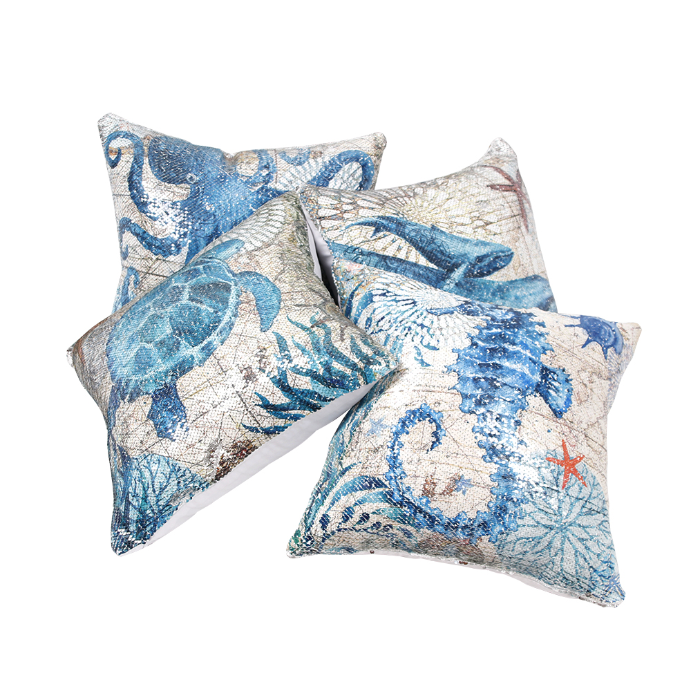 Decorative Printed Sea Horse with piping Pillow COVER 18 Blue