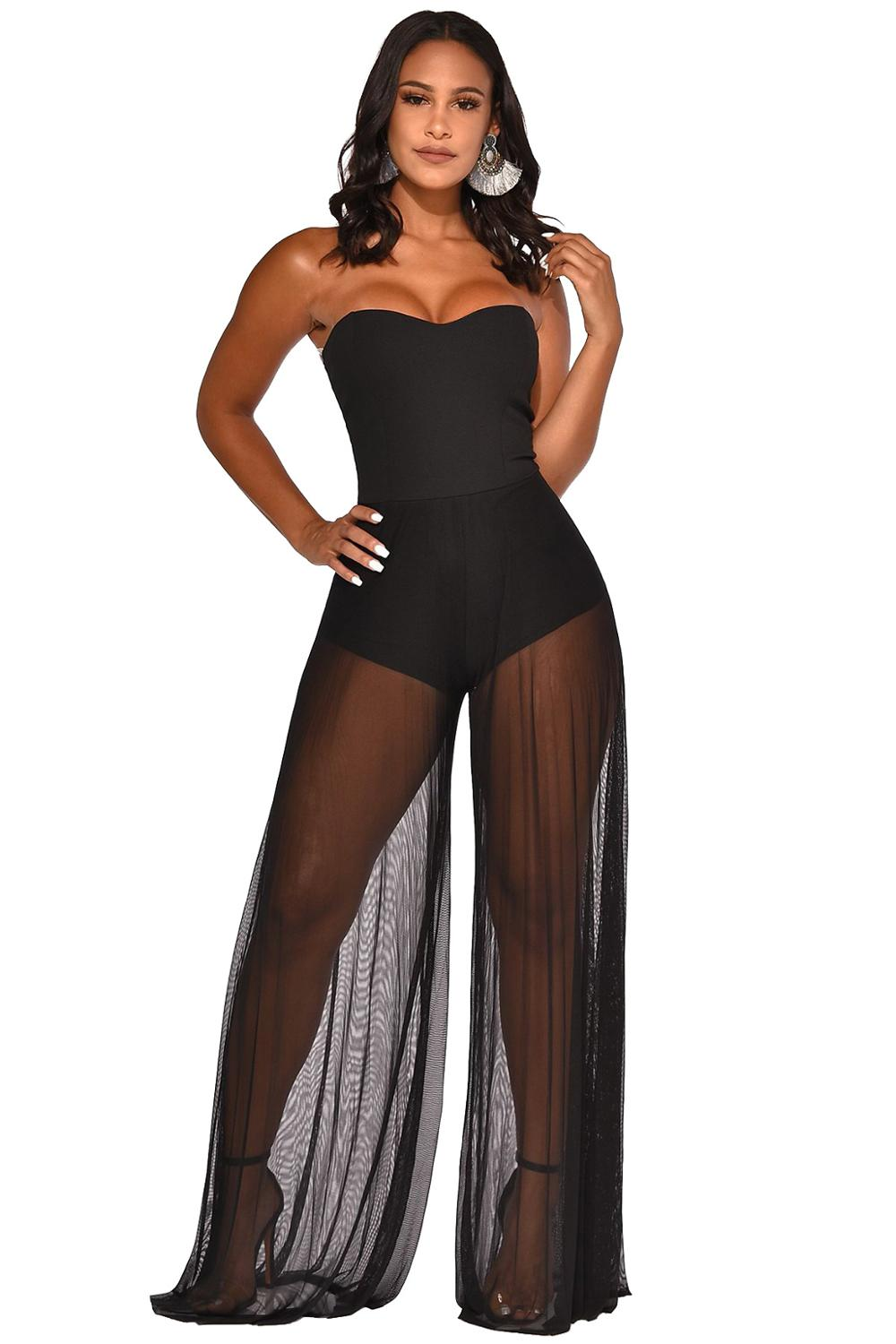 Sexy Off Shoulder Bodysuit With Sheer Mesh Pants Jumpsuit Women Black Strapless See Through Bodycon Clubwear Rompers Overalls